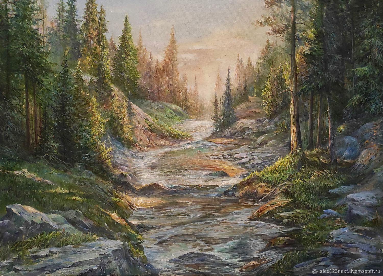 """Картина маслом """"Горная река"""", Картины, Волгоград,  Фото №1"""