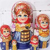 Русский стиль ручной работы. Ярмарка Мастеров - ручная работа МАТРЕШКА девушка с ведрами. Handmade.