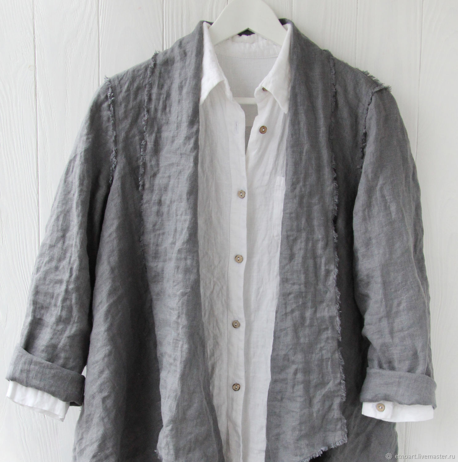 Smoky linen cardigan with open edges, Cardigans, Tomsk,  Фото №1