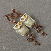 Украшения handmade. Livemaster - original item Earrings handmade Owl bird key cream. Handmade.