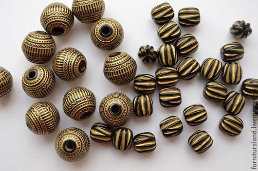 Для украшений ручной работы. Ярмарка Мастеров - ручная работа. Купить Акриловые бусины черно-золотые, 2 вида... Handmade.