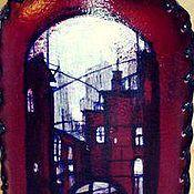 """Подарки к праздникам ручной работы. Ярмарка Мастеров - ручная работа Бутылочка в коже """"Город"""". Handmade."""