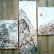 """Картины и панно ручной работы. Ярмарка Мастеров - ручная работа """"Цветение сакуры"""" рельефная модульная картина. Handmade."""