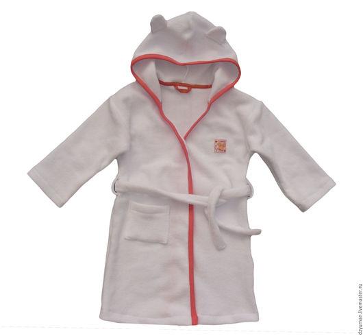 Одежда унисекс ручной работы. Ярмарка Мастеров - ручная работа. Купить Детский халатик с капюшоном. Handmade. Белый, с начёсом
