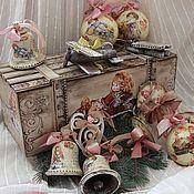 Подарки к праздникам ручной работы. Ярмарка Мастеров - ручная работа Набор новогодних винтажных ёлочных игрушек. Handmade.