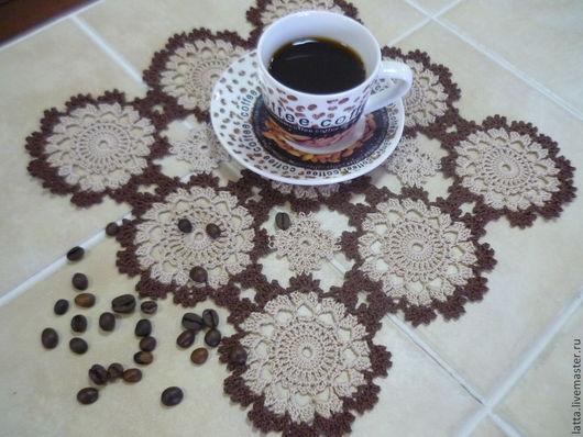 """Текстиль, ковры ручной работы. Ярмарка Мастеров - ручная работа. Купить Ажурная салфетка крючком """"Кофе"""". Handmade. Коричневый"""