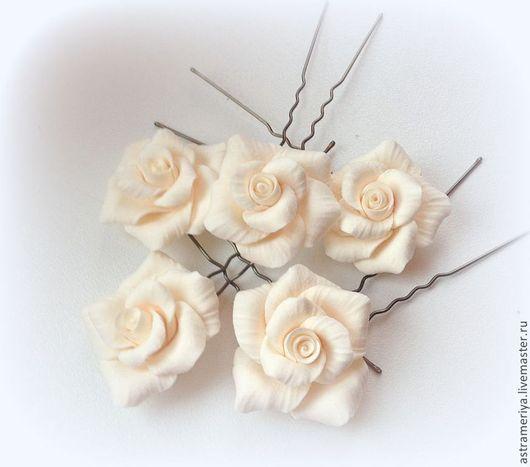 Свадебные украшения ручной работы. Ярмарка Мастеров - ручная работа. Купить Свадебные шпильки в прическу Роза айвори из полимерной  глины. Handmade.