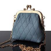 Сумки и аксессуары handmade. Livemaster - original item Wallets: Small blue purse-purse made of genuine leather. Handmade.