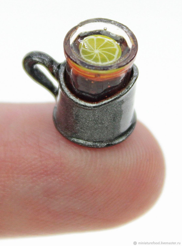 Стакан с чаем и лимоном в подстаканнике, Кукольная еда, Щелково,  Фото №1