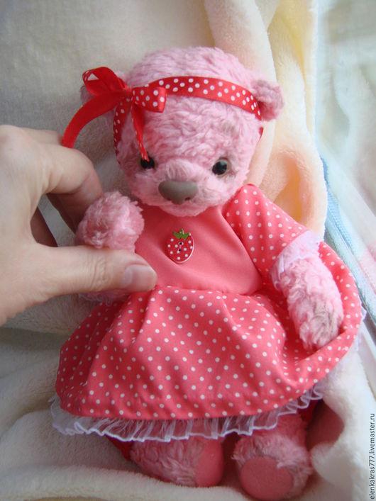 Мишки Тедди ручной работы. Ярмарка Мастеров - ручная работа. Купить мишутка девочка. Handmade. Розовый, мишутка, горошек, холофайбер