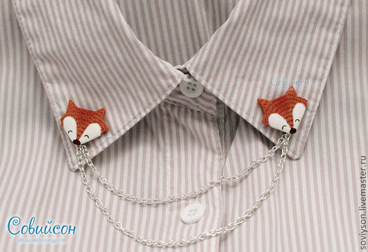 """Колье, бусы ручной работы. Ярмарка Мастеров - ручная работа. Купить Collar tips (запонки на воротник) """"Лисички"""". Handmade. Рыжий"""