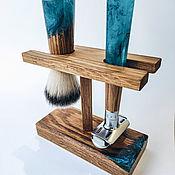 Сувениры и подарки handmade. Livemaster - original item Shaving kit made of oak and epoxy resin. Handmade.