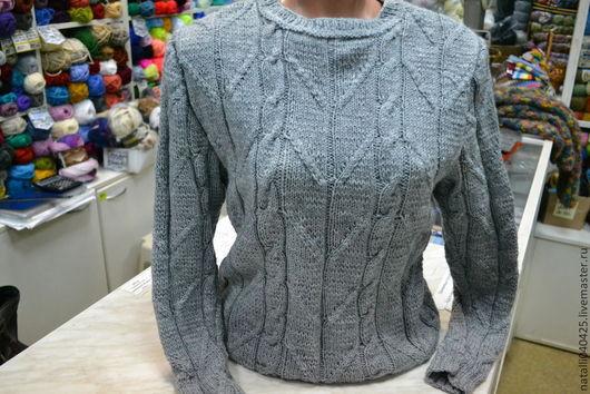 Кофты и свитера ручной работы. Ярмарка Мастеров - ручная работа. Купить серый свитер. Handmade. Серый, свитер с косами