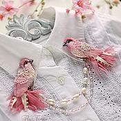 """Свадебный салон ручной работы. Ярмарка Мастеров - ручная работа Двойная брошь """"Пташки Певчие"""". Handmade."""