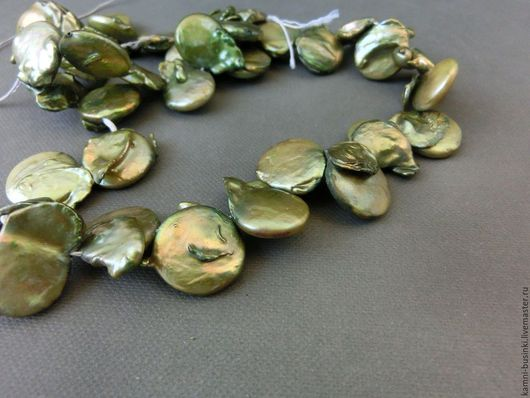 Для украшений ручной работы. Ярмарка Мастеров - ручная работа. Купить Жемчуг 15 мм зеленый барочный натуральный бусина монета. Handmade.