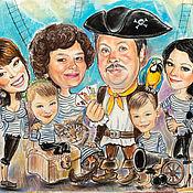 """Картины и панно ручной работы. Ярмарка Мастеров - ручная работа Семейный шарж """"Пираты"""". Handmade."""