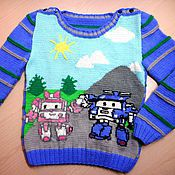 """Вязаный пуловер """" Поли Робокар"""""""
