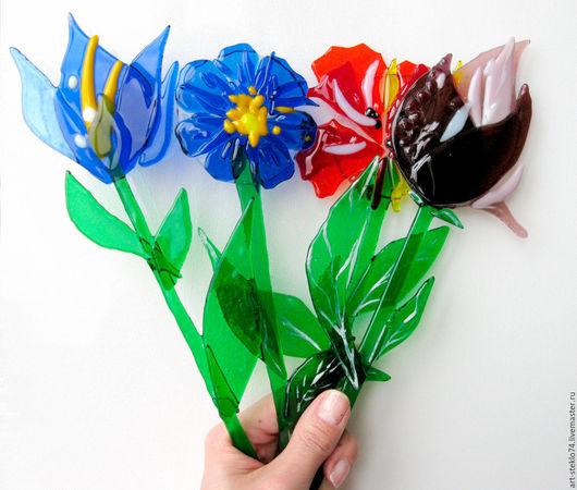 Миниатюрные модели ручной работы. Ярмарка Мастеров - ручная работа. Купить Фьюзинг-сувенир «Цветок», в ассортименте. Handmade. Стекло, фьюзинг