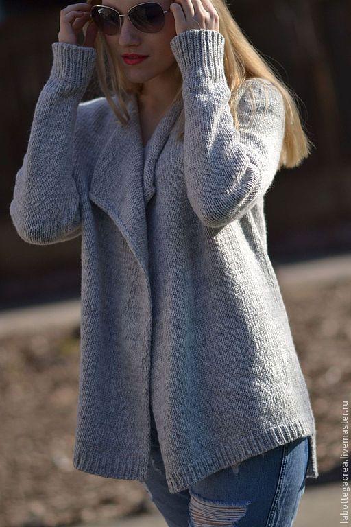 Кофты и свитера ручной работы. Ярмарка Мастеров - ручная работа. Купить Кардиган вязаный La Liberta gray. Handmade. Серый