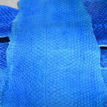 Материалы для творчества ручной работы. Ярмарка Мастеров - ручная работа Рыбья кожа с покрытием (голубая). Handmade.