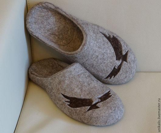 """Обувь ручной работы. Ярмарка Мастеров - ручная работа. Купить Валяные тапочки """"Парение."""". Handmade. Бежевый, тапочки из шерсти"""