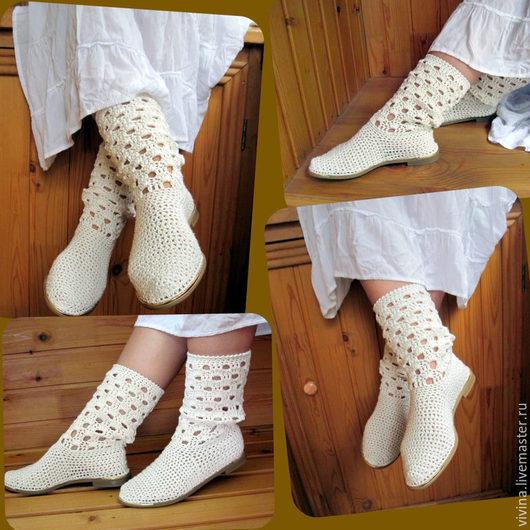 """Обувь ручной работы. Ярмарка Мастеров - ручная работа. Купить Сапожки """"Эль '. Handmade. Белый, сапоги ручной работы"""