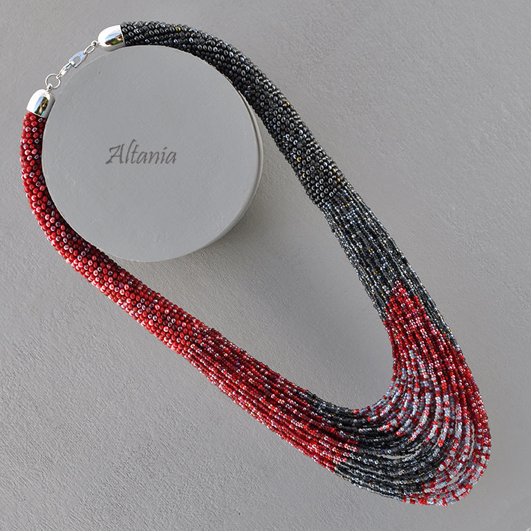 Ruby and Marengo - a beaded necklace, Necklace, Sarov,  Фото №1