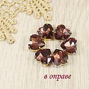 Материалы для творчества handmade. Livemaster - original item Glass rhinestones Heart 10mm Marsala. Handmade.