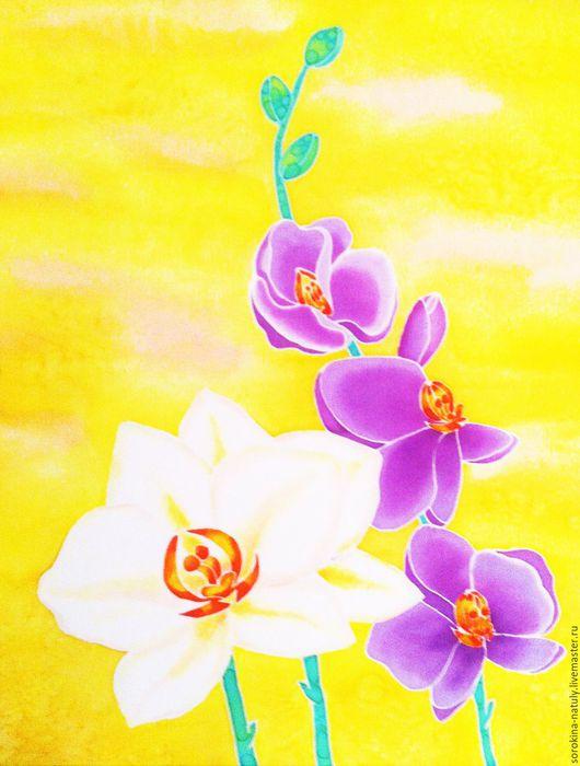 Картина батик Картины цветов ручной работы Ярмарка Мастеров Купить батик картину `Изысканность орхидеи 3` на шёлке Купить батик панно Handmade Орхидеи Жёлтый Батик Цветы Картина в подарок Подарок Шёлк