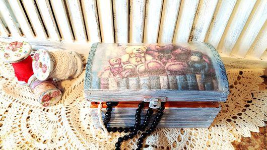 Шкатулки ручной работы. Ярмарка Мастеров - ручная работа. Купить сундук. Handmade. Голубой, сундук деревянный