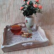 Для дома и интерьера ручной работы. Ярмарка Мастеров - ручная работа Поднос для утреннего чая, кофе в экостиле. Handmade.