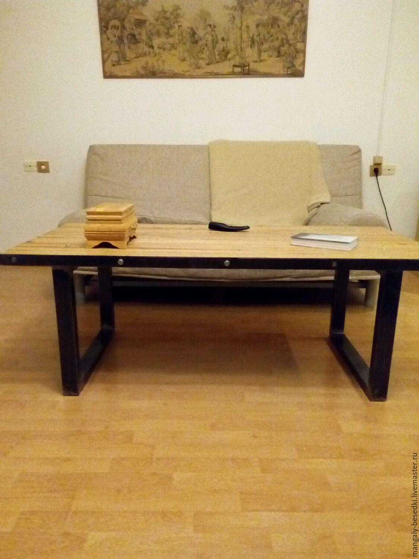 журнальный столик лофт дуб и металл купить в интернет магазине на
