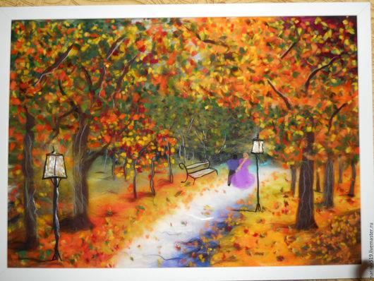 Пейзаж ручной работы. Ярмарка Мастеров - ручная работа. Купить Шерстяная акварель Осень для двоих. Handmade. Разноцветный, оранжевый