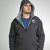 Одежда handmade. Livemaster - original item Grey fur hoodie, warm men`s hoodie. Handmade.