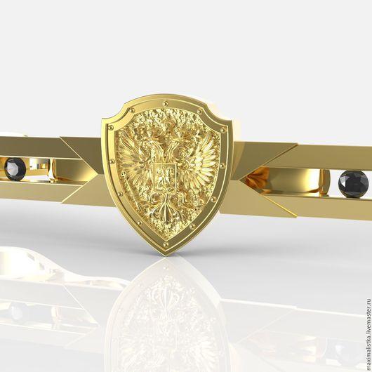 """Украшения для мужчин, ручной работы. Ярмарка Мастеров - ручная работа. Купить Зажим для галстука """"Российский герб на щите"""" из золота с бриллиантами. Handmade."""