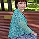 шаль, ажурная шаль, вязаная шаль, шаль спицами, мини-шаль, ажурный бактус, бирюзовый, шаль ручная работа, сине-зеленый, натуральный шелк, зеленый, морская волна, стильный аксессуар, лето 2015