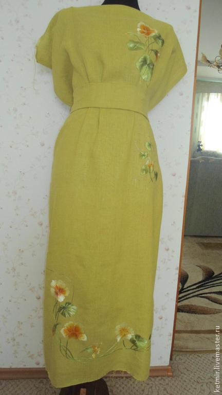 Платья ручной работы. Ярмарка Мастеров - ручная работа. Купить вышитая шелком заготовка на платье  (лен). Handmade. Оливковый