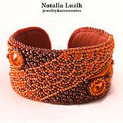 Украшения handmade. Livemaster - original item Beaded bracelet Fresh tangerine shibori Swarovski orange stylish. Handmade.
