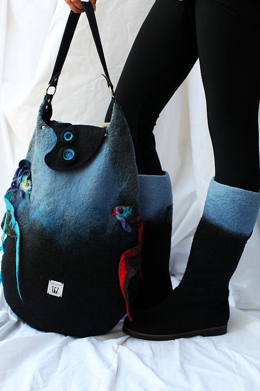 """Обувь ручной работы. Ярмарка Мастеров - ручная работа. Купить Валяные сапожки """" BlueCuff """". Handmade. Синий, шерсть"""