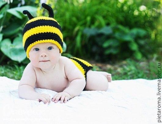 """Для новорожденных, ручной работы. Ярмарка Мастеров - ручная работа. Купить Шапка """"Пчёлка"""". Handmade. Шапка, шапка детская, полушерсть"""