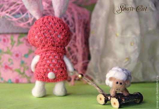 Игрушки животные, ручной работы. Ярмарка Мастеров - ручная работа. Купить Валяная игрушка Зайка с барашком. Handmade. Белый, овечка