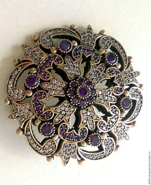 Броши ручной работы. Ярмарка Мастеров - ручная работа. Купить Брошь из серебра в османском стиле с аметистами. Handmade. Фиолетовый, самоцветы