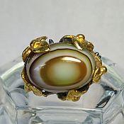 Серебряное кольцо с полосатым агатом, размер 16,00