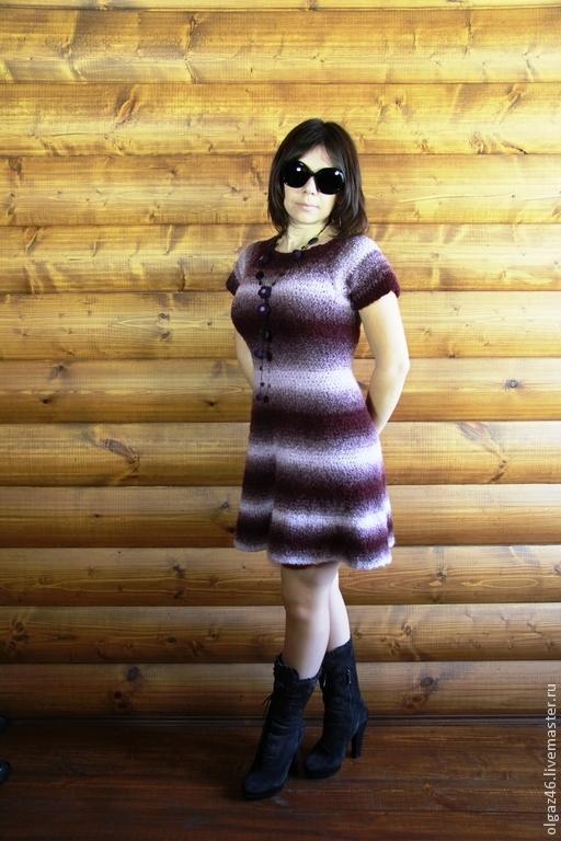 """Платья ручной работы. Ярмарка Мастеров - ручная работа. Купить Вязанное платье """"Лиловое настроение"""". Handmade. Вязанное платье, пэс"""
