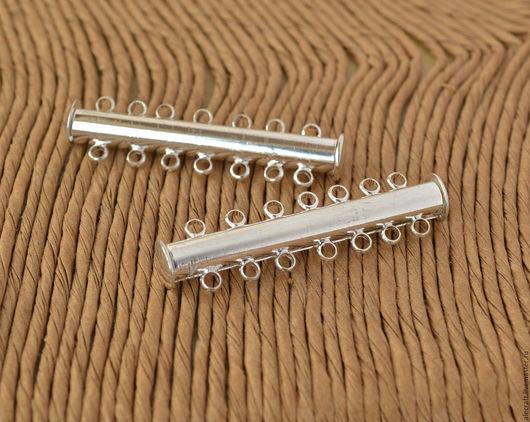Для украшений ручной работы. Ярмарка Мастеров - ручная работа. Купить Замок магнитный на 7 нитей слайдер, серебро. Handmade.