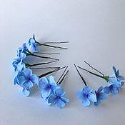 Hair Decoration handmade. Livemaster - original item Studs with blue hydrangea. Handmade.