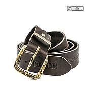 Аксессуары handmade. Livemaster - original item Leather belt with brass forged buckle. Handmade.