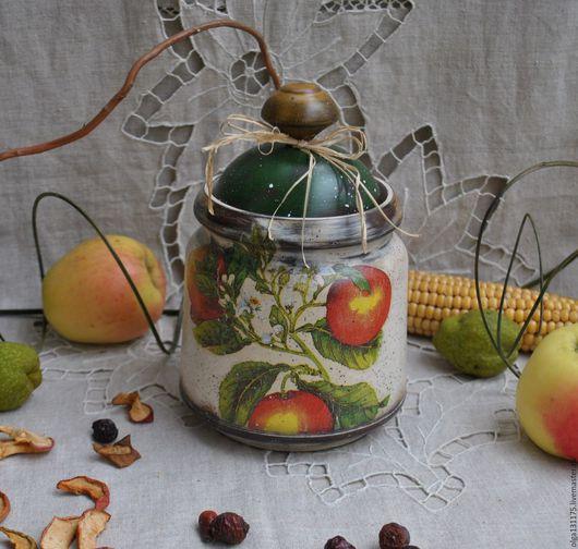 """Корзины, коробы ручной работы. Ярмарка Мастеров - ручная работа. Купить Горшочек - баночка для кухни """"Яблочки """". Handmade. Короб"""