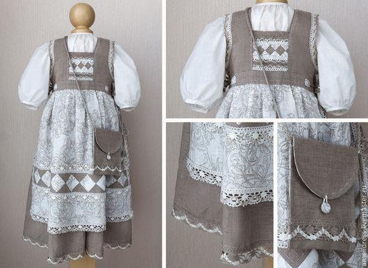 Одежда для девочек, ручной работы. Ярмарка Мастеров - ручная работа. Купить Льняной сарафан. Handmade. Серый, сарафан, лен