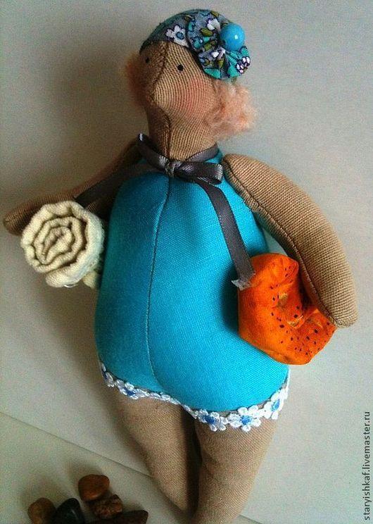 """Куклы Тильды ручной работы. Ярмарка Мастеров - ручная работа. Купить Тильда-толстушка """"Наши на пляже"""". Handmade. Бирюзовый"""